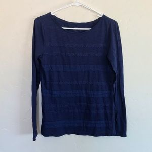LOFT Navy Blue Lace Accent Long Sleeve Tee Shirt S